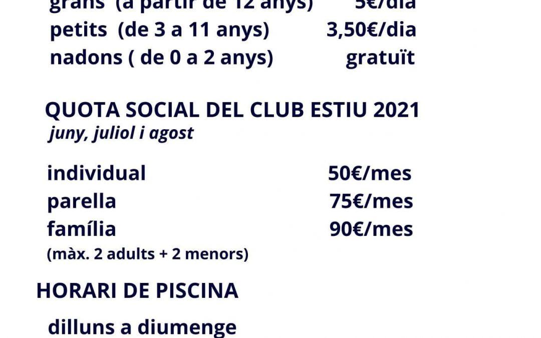 Quotes de piscina i socials estiu 2021